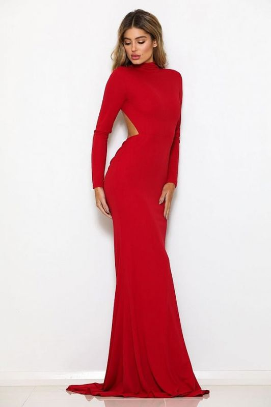 2020 Stunning Red Mermaid Crew Long sleeves Prom Gown | Backless Sweep Train Evening Dress On Sale