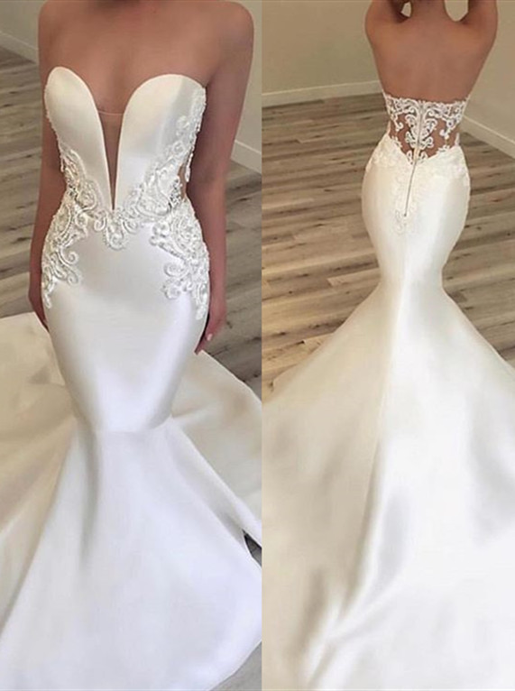 2020 Fashionable V Neck Mermaid Appliques Wedding Dress | Sleeveless Lace Zipper Bridal Gown On Sale