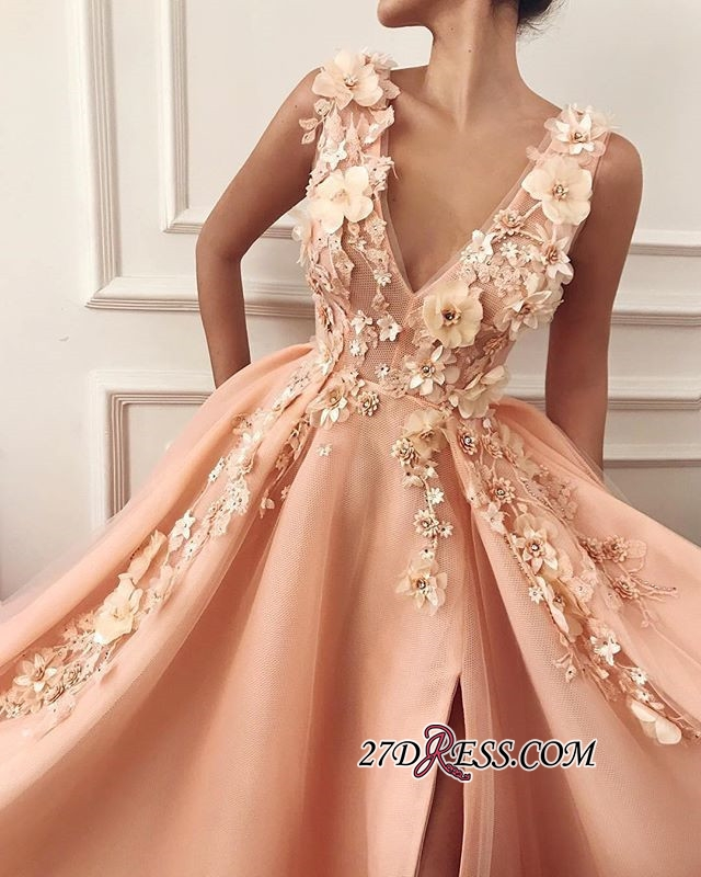 Straps Flower Appliques A-Line Prom Dress | Gorgeous V-Neck Sleeveless Prom Gown