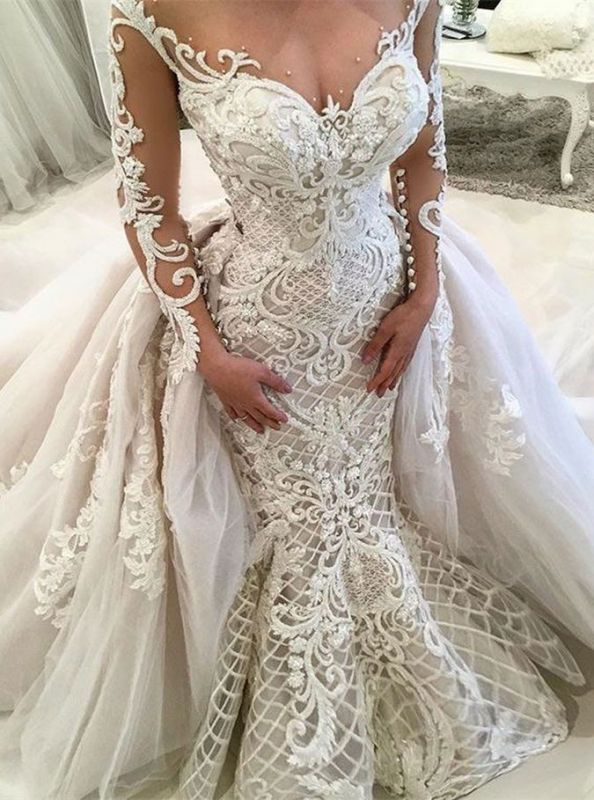 Glamorous Long Sleeve Lace Wedding Dresses | 2020 Overskirt Mermaid Bridal Gowns BC0305