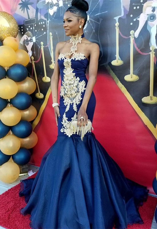 Navy Blue Halter 2020 Prom Dress   Mermaid Evening Gown With Appliques BK0