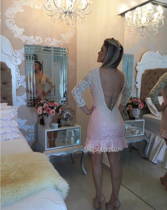 Pearls V-neck Bodycon Sexy Lace Mini Backless Short Homecoming Dress