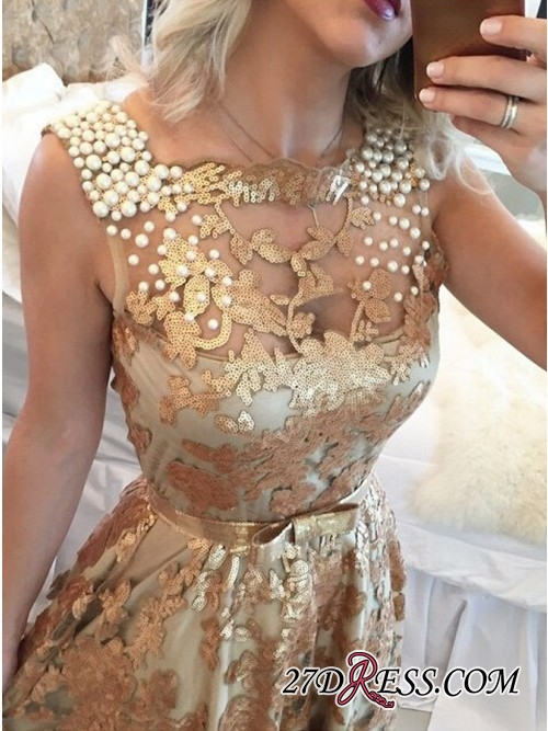 Gold Applique Straps Beaded A-Line Prom Dress   Gorgeous Sequins Sleeveless Prom Gown