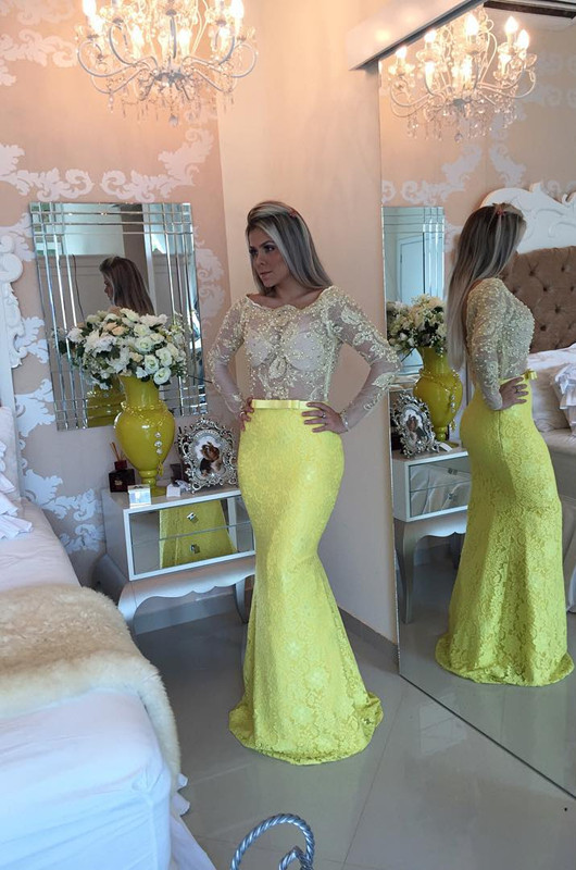 Stunning Yellow Long Sleeve 2020 Evening Dress Lace Mermaid Prom Gown
