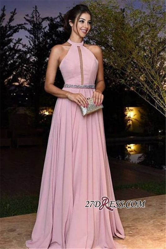 Halter Pink Simple A-Line Chiffon Crystal Prom Dresses