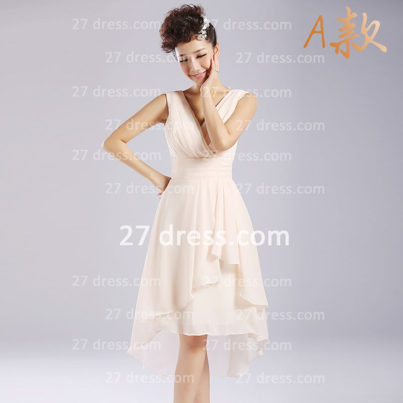 Flowers Six Chiffon Bridesmaid Dresses New Arrival A-line Ruffles Styles Knee-length