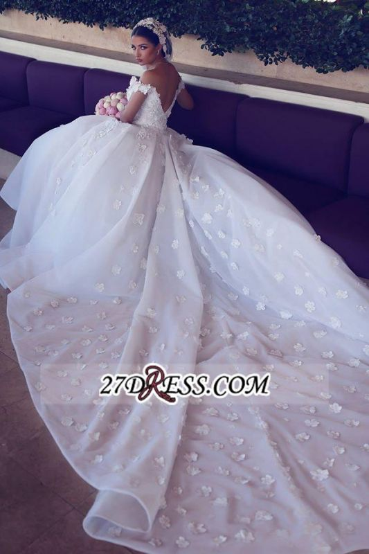 Train Tulle Sweetheart Off-the-shoulder Luxurious Appliques Wedding Dress