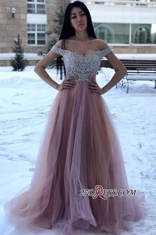 A-line Off-the-shoulder Lace Floor-Length Amazing Prom Dresses