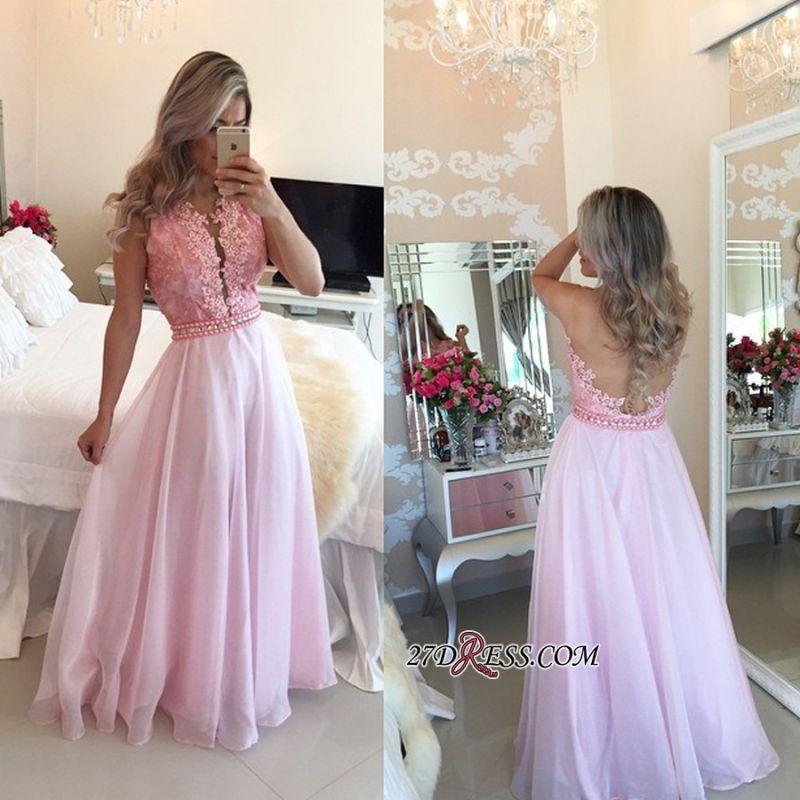 Pink Sheer-Tulle Crystal Appliques A-Line Sexy Prom Dresses