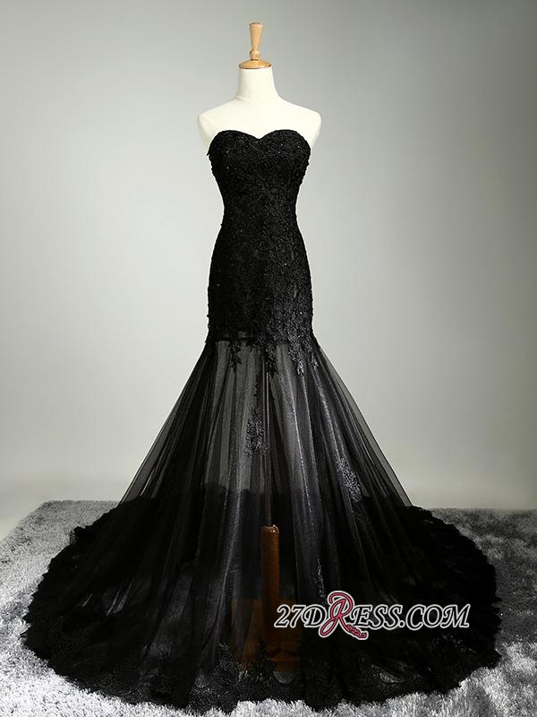 Sexy Black Sweetheart Mermaid 2020 Evening Dress Sheer Skirt Long Party Dress With Lace