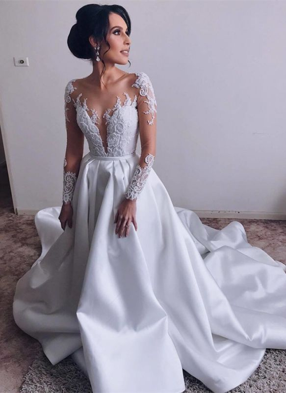 Elegant Long Sleeve Wedding Dress | 2020 Lace Bridal Gowns On Sale