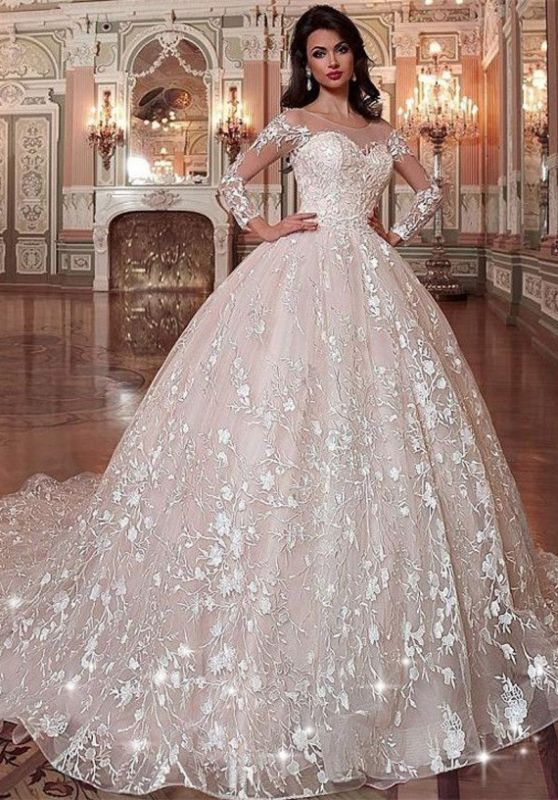 Glamorous Long Sleeve Wedding Dresses   2020 Ball Gown Bridal Gowns