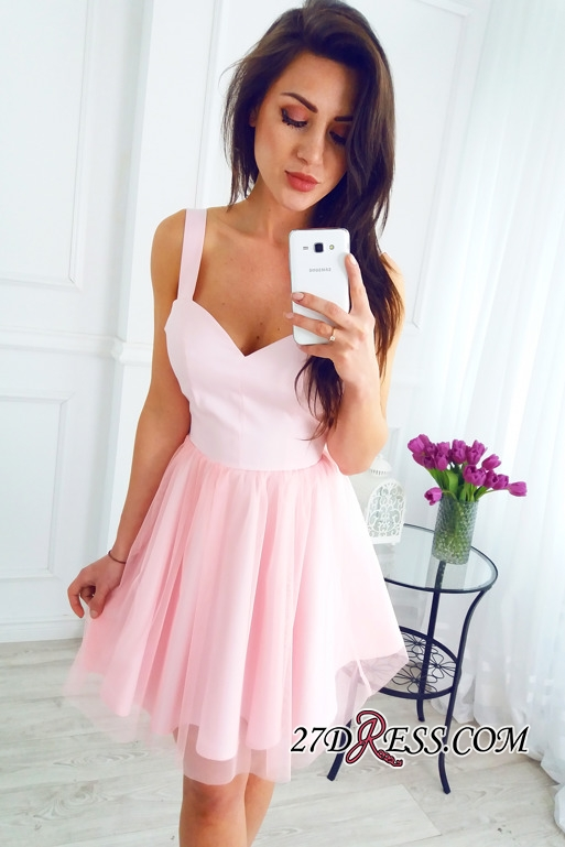 Sleeveless Newest Pink Short A-line Straps Homecoming Dress