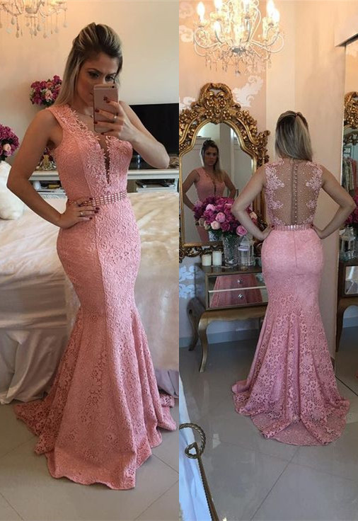 Gorgeous Sleeveless Lace 2020 Evening Dress Mermaid Party Gowns BMT BA9607