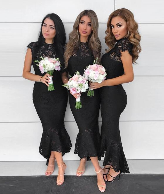 Elegant Black Crew Capped Mermaid Bridesmaid Dress | Lace Tea-Length Maid of Hornor Dress