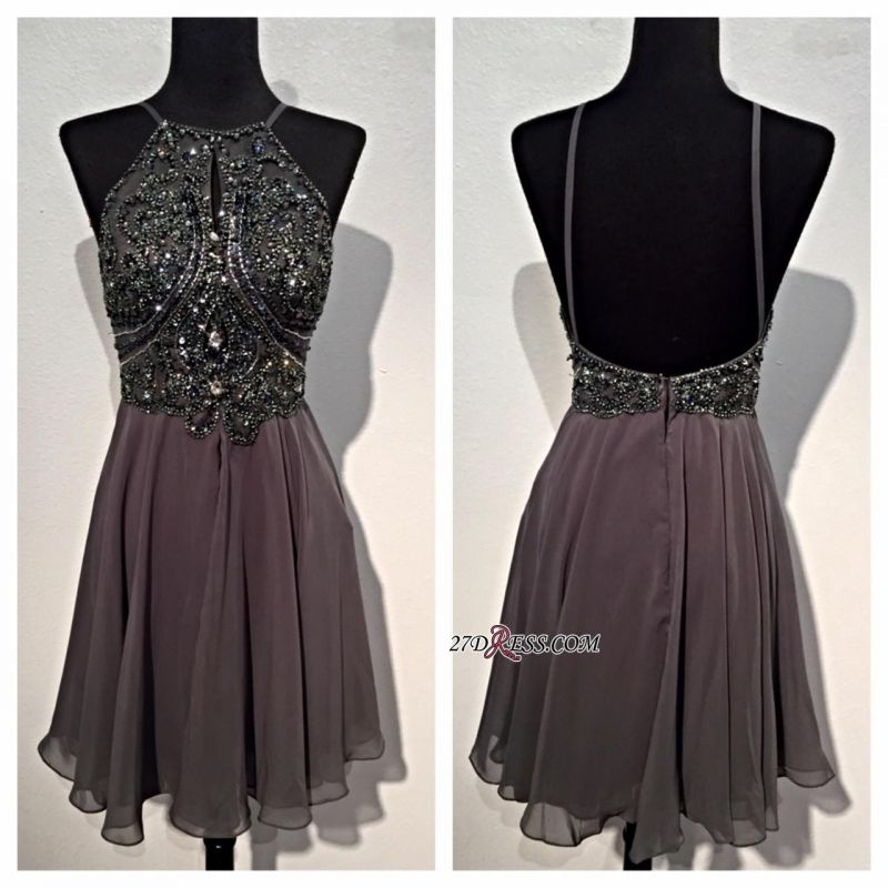 Backless Mini Sparkly Sequins Spaghetti-Straps Beaded Chiffon Homecoming Dresses BA3771
