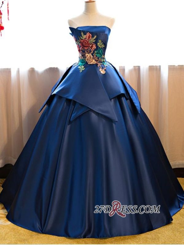 Puffy Strapless Embroidery Elegant 2020 Long Prom Dresses On Sale