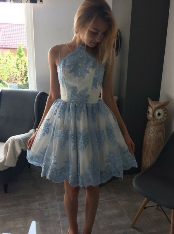 Delicate Lace Appliques Sleeveless A-line Homecoming Dress | Short Party Gown
