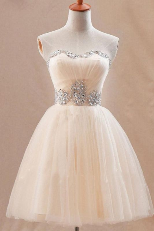 Cute Sweetheary SHort Tulle Homecoming Dress With Crystals BA7344