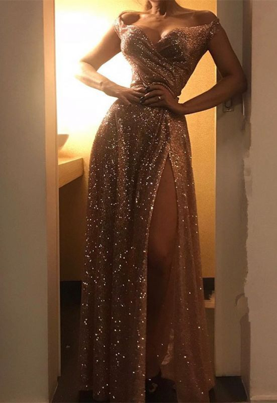 Gorgeous Sequins Off-the-Shoulder Prom Dresses | 2020 Long Evening Party Dress With Split BC1409