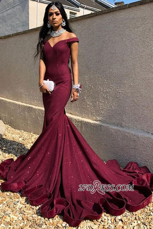 Off-the-shoulder Brilliant Train Sweep Mermaid Evening Dresses
