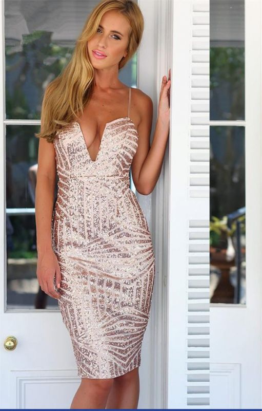 Gorgeous Sequined Spaghetti Strap Tight Homecoming Dress 2020 Mini Sleeveless Zipper