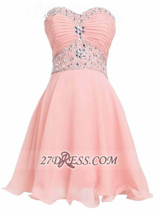 Lovely Semi-sweetheart Sleeveless Cocktail Dress Lace-up Crystals Chiffon Short Homecoming Gown
