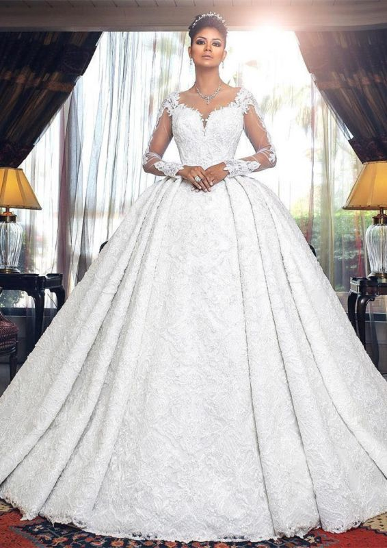 Glamorous Long Sleeve Lace Wedding Dresses | 2020 Ball Gown Bridal Gowns On Sale