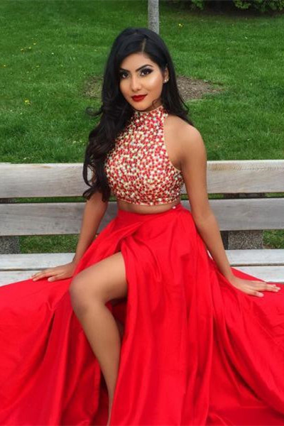 Newest Two Piece Beading Prom Dress Front Split