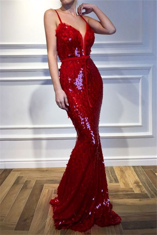 Red Spaghetti-Straps Mermaid Prom Dresses | 2020 Sequins Sleeveless Evening Gown BC2302