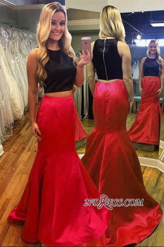 Gorgeous Black Red Mermaid Two-Piece Sleeveless Evening Dress