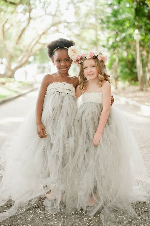 Romantic Strapless Tulle Girl Pageant Dress With Flowers