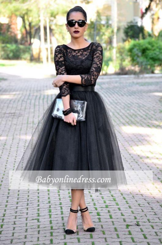 Tea-Length Popular A-Line Black Lace Tulle Evening Gowns
