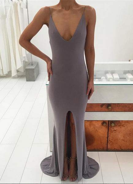 Sexy V-neck Sleeveless Prom Dress 2020 Slit Party Gowns