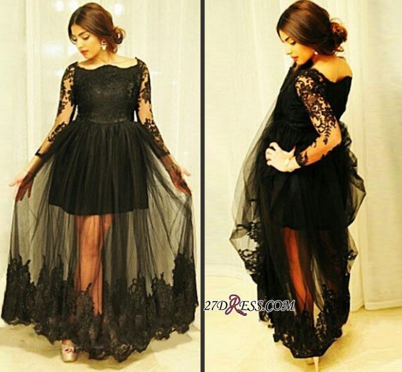 Tulle Gorgeous Long-Sleeve Lace Black Floor-Length Maternity Dresses