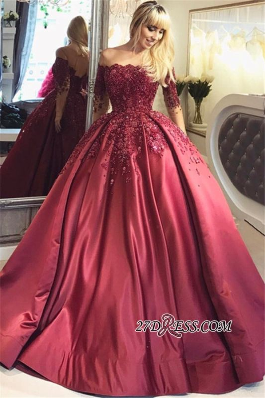 Crystal Appliques Long-Sleeves Off-the-Shoulder Burgundy Ball Prom Dresses