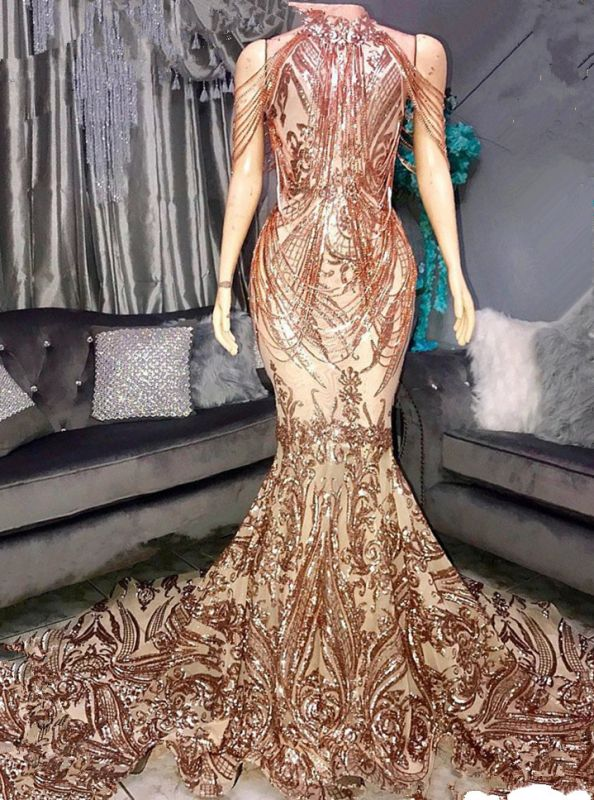 Glamorous Drapping Design Sequins Prom Dresses | 2020 Mermaid Long Formal Wears