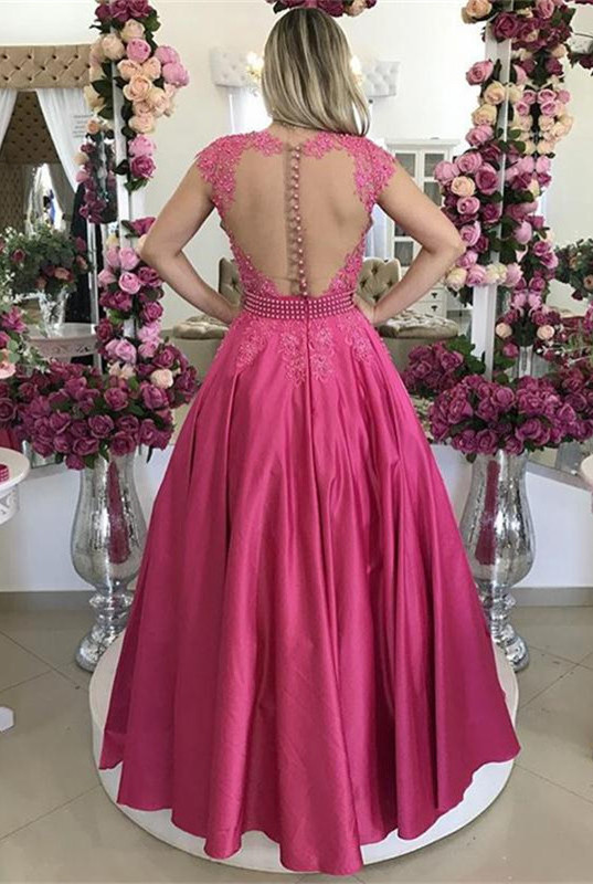 Cap Sleeve Fuchsia Lace 2020 Evening Dress Long On Sale BMT