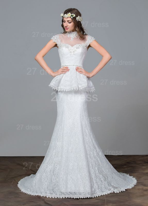 Modern Lace Tulle A-line Wedding Dress Beadings Sweep Train