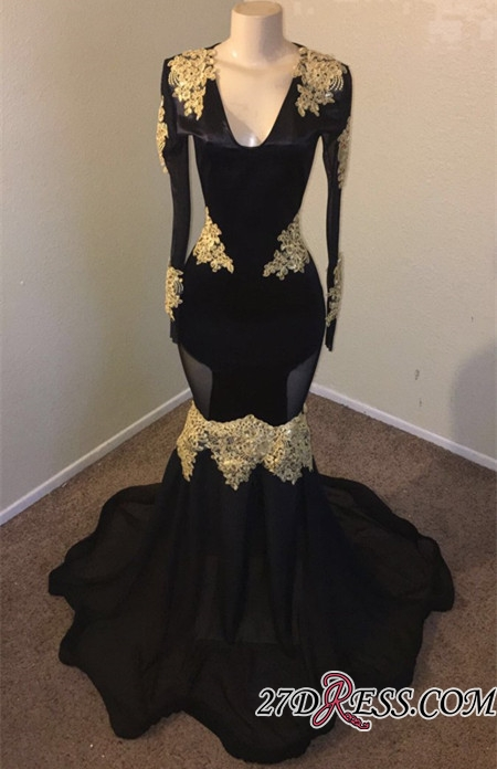 Sexy Long Sleeves Applique Mermaid Prom Dresses | 2020 Black V-Neck Long Evening Dresses BC1315