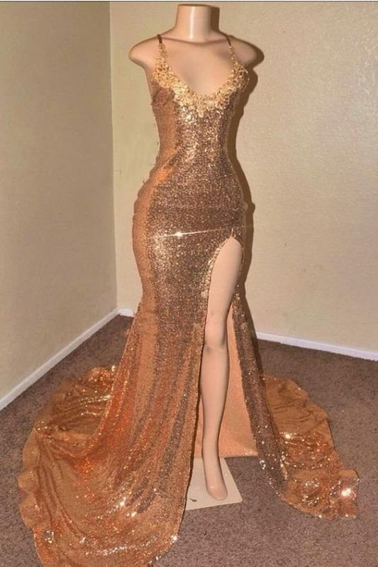 Sexy Sequins Appliques Prom Dresses   2020 Mermaid Evening Gowns With Slit BC0906