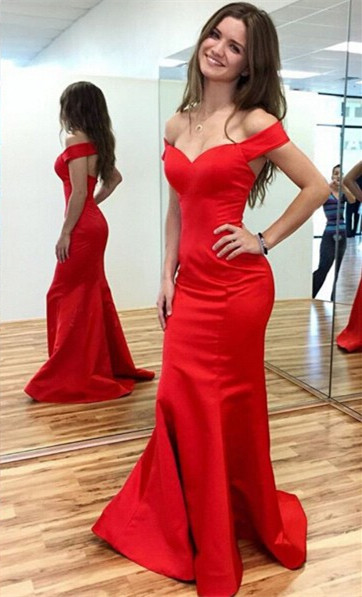 Sexy Red Mermaid 2020 Prom Dress Off-the-shoulder Sweep Train