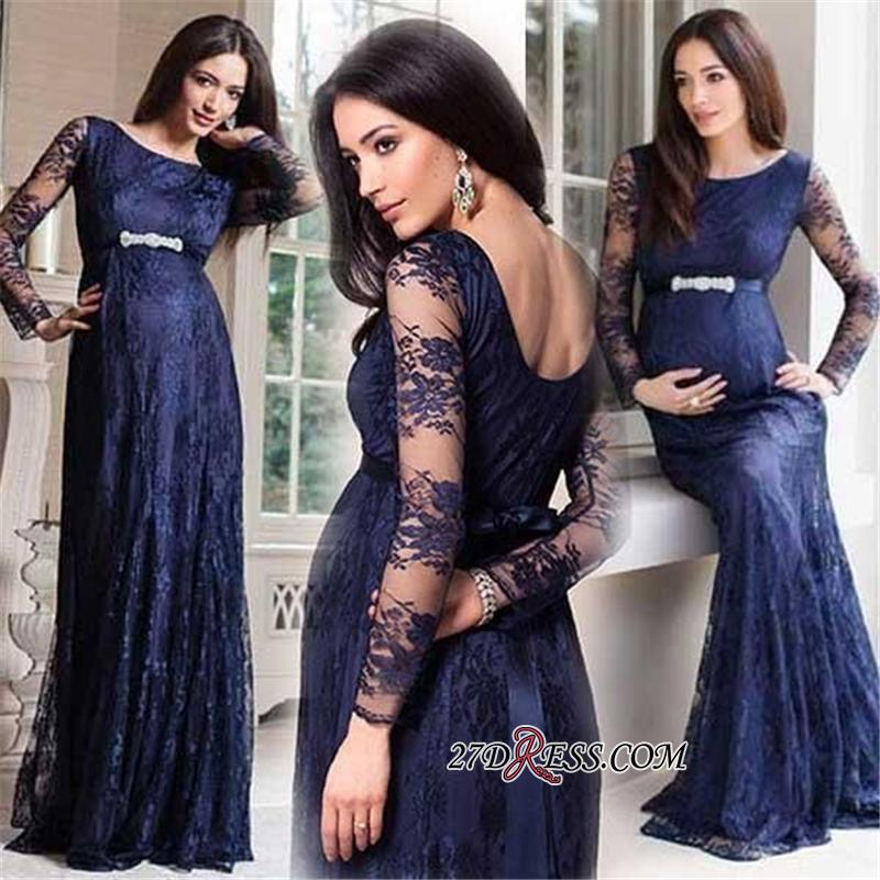 Navy Blue Long Sleeve Lace Maternity Dresses | Cheap Open Back Pregnant Dresses Online