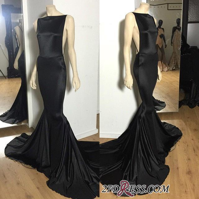 Long Open-Back Black Cheap Mermaid Court-Train Sexy Evening Dress