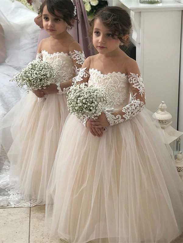 Lovely Long Sleeves Lace Flower Girl Dress | 2020 Tulle Girls Pageant Dress