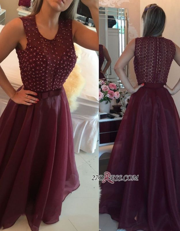 Burgundy evening dress, 2020 prom dress with pearls