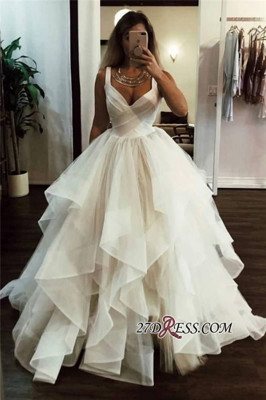 A-line Ruffles V-neck Fashionable Straps Wedding Dress