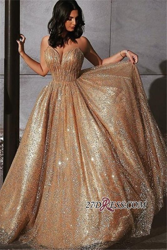 Elegant Sequins A-Line Evening Dresses | Newest Glamorous Empire Princess Strapless Prom Dresses