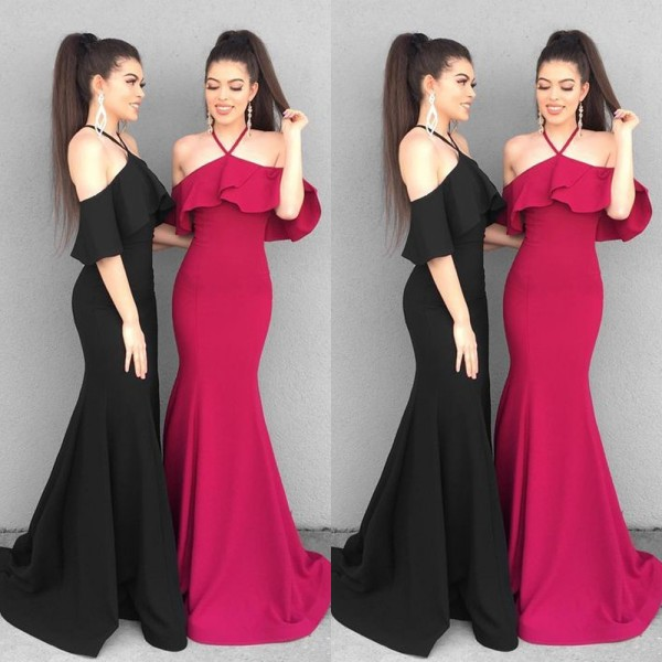 Charming Halter Ruffles Prom Dress   Mermaid Floor-Length Evening Gowns With Ruffles