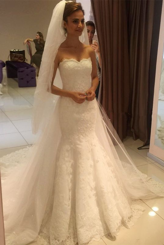 Glamorous Sweetheart Lace Mermaid 2020 Wedding Dress